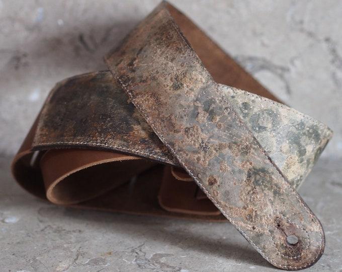 post apocalypse industrial punk brown leather guitar strap v3