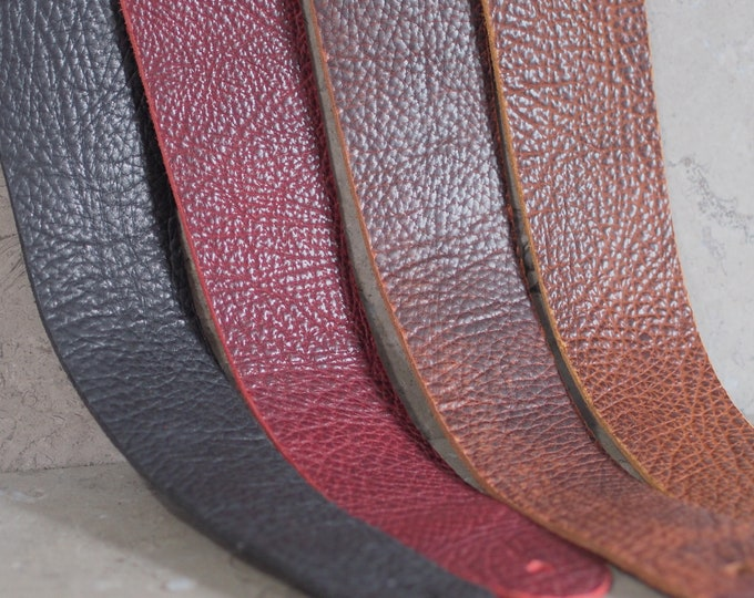 Featured listing image: Bison Hide Leather Guitar Strap -- choice of 4 colors