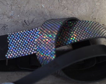 Iridescent Dots on Black Leather Guitar Strap