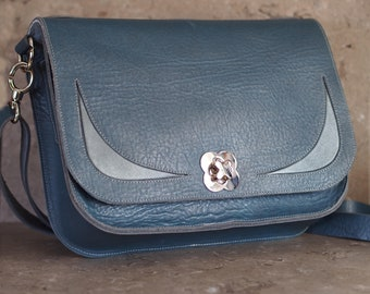 Blue Leather with Silver Insets Messenger Bag