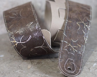 Glitter Fall Brown and Gray Leather Guitar Strap