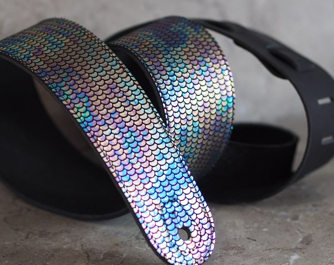 Featured listing image: Oil Slick Rainbow Mermaid Scales on Black Leather Guitar Strap