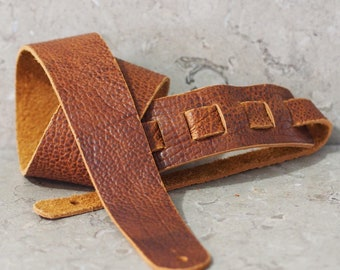 Cognac Brown Bison Hide Leather Guitar Strap
