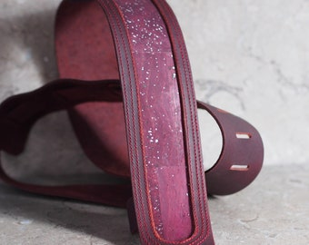 Real Cork inset in Plum Leather Guitar Strap