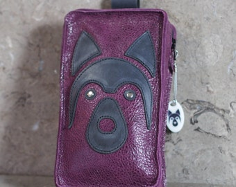 Purple and Gray Leather Cell Phone Belt Pouch with appliqued Husky