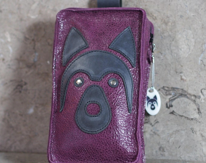 Featured listing image: Purple and Gray Leather Cell Phone Belt Pouch with appliqued Husky