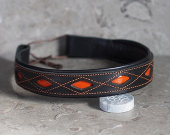 Black Leather Dressage Show Brow Band with Orange accent and decorative stitching