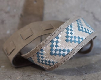 Grey Leather Guitar Strap with Embroidered Chevron Check Fabric Inset