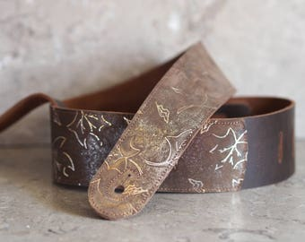 Glitter Fall Leather Guitar Strap