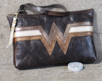 Wonder Woman Inspired Antiqued Leather Wristlet Pouch