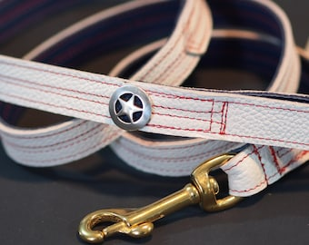 SALE! Patriotic Puppy Leather Leash inspired by Captain America