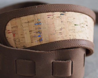 Cork inset in Brown Leather Guitar Strap