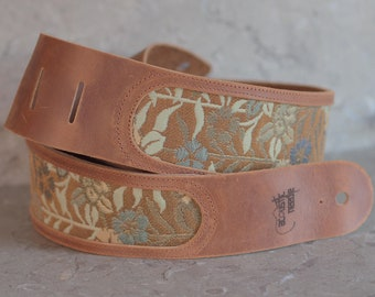 Brown Leather Guitar Strap with Woven Floral Fabric Inset