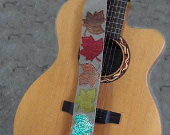 Changing Leaves on Grey Leather Guitar Strap