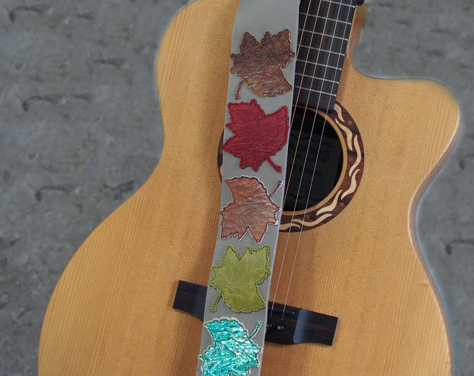Featured listing image: Changing Leaves on Grey Leather Guitar Strap
