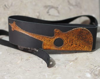 Laser cut Acoustic Needle Leather Guitar Strap