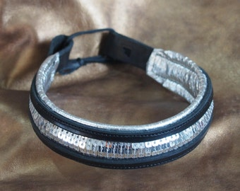 Black and Silver Leather and Sequin Dressage Show Brow Band