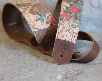 RESERVED for ELIZABETH  Asian Floral Print on Honey over Nut Brown Leather Guitar Strap