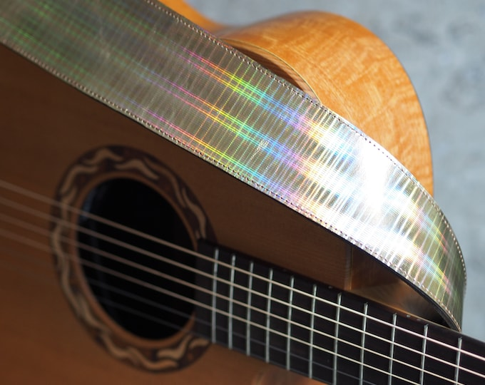 Gold Holographic on Olive Leather Guitar Strap