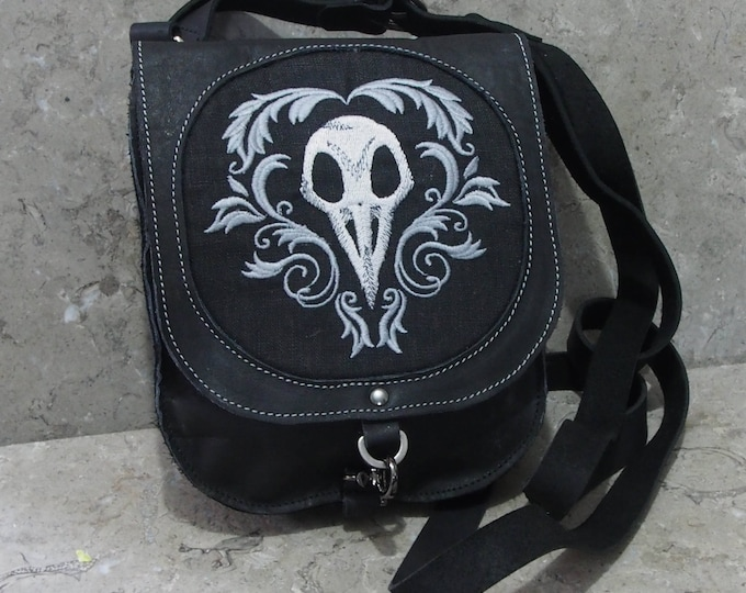 Featured listing image: Leather satchel with bird skull embroidery
