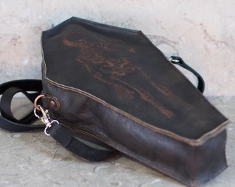 Coffin Shaped Leather Pouch with Laser Etched Skeleton with Hour Glass