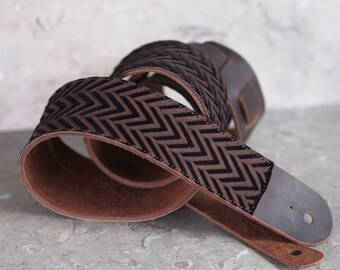 Silky Brown Chevron Leather Guitar Strap