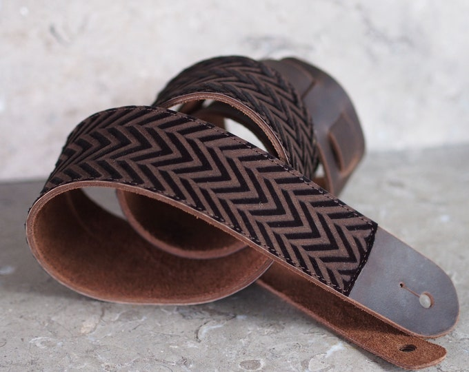 Silky Brown Chevron Leather Guitar Strap