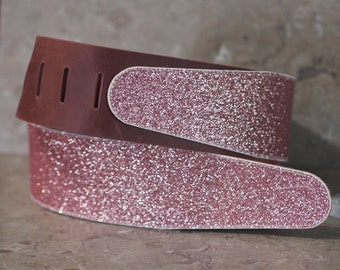 Pink Glitter Leather Guitar Strap