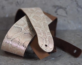Rose Gold Python on Buff & Brown Leather Guitar Strap