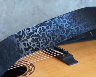 Silky Black Damask Leather Guitar Strap