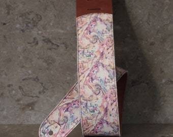 Marbled White Leather Guitar Strap -- choice of base leather