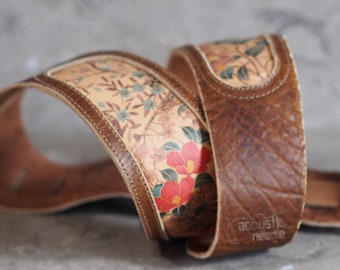 Honey Asian Floral Print with Brown Bison Leather Guitar Strap