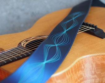 Blues Onion Stitched Blue Leather Guitar Strap