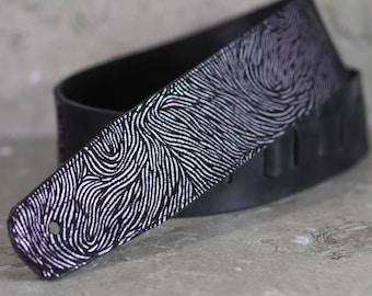 Pink Foil Fingerprint on Black Leather Guitar Strap