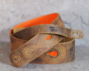 Sunset Stitched Distressed Brown Leather Guitar Strap