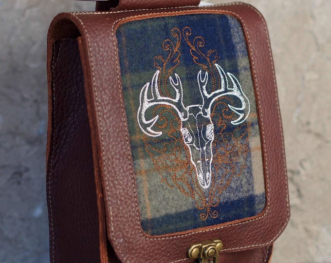 Featured listing image: Leather satchel with deer skull embroidered tartan
