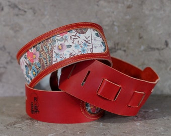 Asian Floral Print and Red Leather Guitar Strap