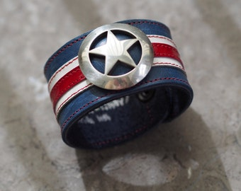 Captain America inspired leather wrist cuff