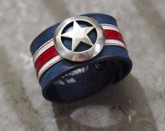 Featured listing image: Captain America inspired leather wrist cuff