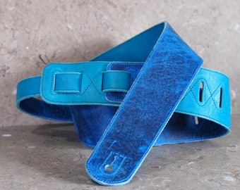 Denim Blue and Teal Layered Leather Guitar Strap