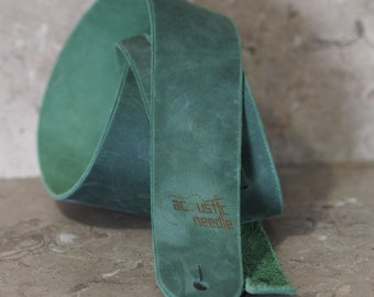 Moss Green Leather Guitar Strap