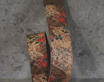 Asian Floral Print on White over Soft Brown Leather Guitar Strap