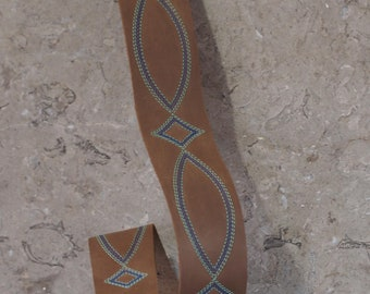 Western Belt Stitch Brown Leather Guitar Strap