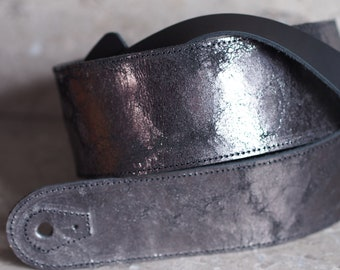 Metallic Steel Magma Black Leather Guitar Strap