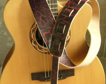 Red and Black Crackle Look Leather Guitar Strap