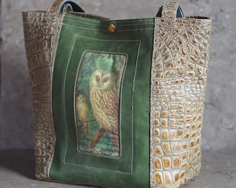 Owl in Green and Biege Croc Embossed Leather Tote