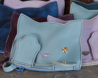 Peek-A-Boo Kitty Leather Pouch--Made to Order, Pick you Color!