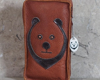 Brown Leather Cell Phone Belt Pouch with appliqued Bear