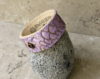 Leather Bracelet -- Lavender and Gold Tipped Crucian Carp