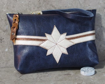Captain Marvel inspired Star and Bands Blue Leather Wristlet Pouch